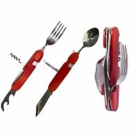 Набор походный раскл. (6 предм) вилка,нож,ложка,шило,открывалка,штопор,нерж сталь,цв. красный (706)
