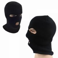 Маска-шлем, вязаная,3 отверстия, двухслойная, цвет черный