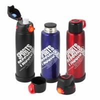 Термос-бутылка SPORTS, 0,8л, крышка-чашка+спортивная крышка, цвет черный (2272)