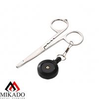 Зажим рыболовный Mikado прямой с ретривером AI-0438