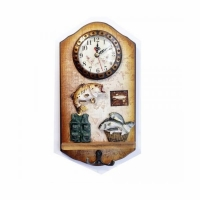 Сувенир часы-вешалка УДАЧНАЯ РЫБАЛКА (24-1), настенные, 27,5*14.5 см.,