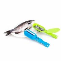 Рыбочистка COMFORT откидной нож, контейнер для чешуи, пластик, блист., цв. в асс. (BY-316/16120-21)