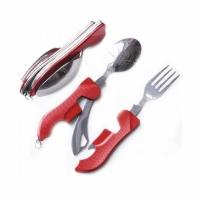 Набор походный раскл. (3 предм) вилка, нож, ложка, + откр., сталь, цв. красный (арт. A37) (120)