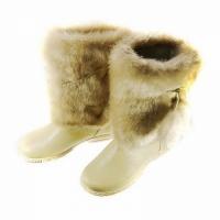 Унты женские, бежевый мех, бежевая кожа, литая подошва, размер 36