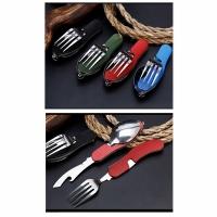 Набор походный раскл. (3 предм) вилка, нож, ложка, + откр., сталь, цв. желтый (арт. A37) (120)