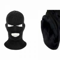 Маска-шлем, вязаная,3 отверстия, подкладка иск. мех, цвет черный