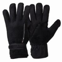 Перчатки флисовые, утеплен., подкл. иск.мех, фиксатор на запястье, с карманом на молнии, цвет черный