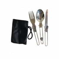 Набор для похода, складные ложка, вилка, нож, цв. серебро (5009)