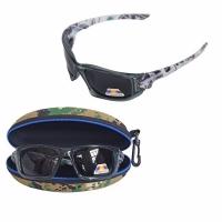 Очки для рыбалки, поляризационные линзы темн. синие, оправа серая (K604)