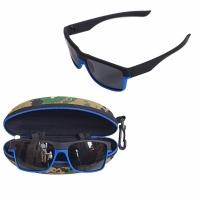 Очки для рыбалки, поляризационные линзы черные, оправа черно-синяя (K606)