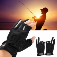 Перчатки SPORT, рыболовные, ладонь Anti-slip, цв. сер.-черные