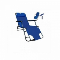 Шезлонг-раскладушка, В160*Ш50*Г60, с пласт. подлок., 2 полож., мягк. подг., цв.тем. синий (1236) (4)