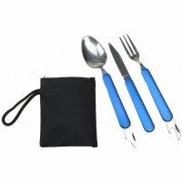 Набор для похода, складные ложка, вилка, нож, алюм. ручка, цв. синий (8003)