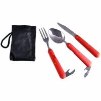 Набор для похода, складные ложка, вилка, нож, алюм. ручка, цв. красный (8003)