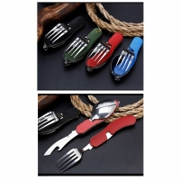 Набор походный раскл. (3 предм) вилка, нож, ложка, + откр., сталь, цв. зеленый (арт. A37) (120)
