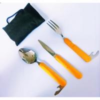 Набор для похода, складные ложка, вилка, нож, алюм. ручка, цв. желтый (8003)