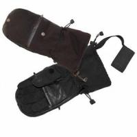Варежки CLODWOLF, ладонь-кожа, фиксатор на руку, карман-молния, темп. реж. -40гр., ц. черный, раз. L