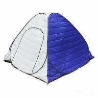 Палатка зимняя, автомат, утепленная (стеган.), 1,8*1,8м, h 1,35м, дно на молнии, цвет бел-синий(DUA)