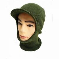 Маска-шлем вязаная, двухслойная, с козырьком, цвет зеленый
