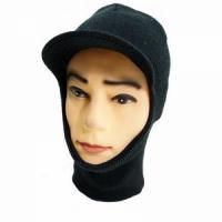 Маска-шлем вязаная, двухслойная, с козырьком, цвет черный