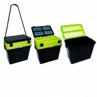Ящик зимний HS-317, пластик.рыболовн, В37*Ш37*Г23, 19л,чёрн с жёлт.сидушка,ремень,t до -40, до135кг