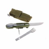 Набор походный раскл. (5 предм) вилка,нож,ложка,штопор,консервный нож-в чехле на пояс(арт.607) (120)