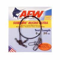 Поводок оснащённый AFW Surflon Micro Ultra Black 1х19  8кг. 20см. (3шт.)