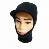 Маска-шлем вязаная, с козырьком, хлопок, цвет черный