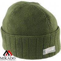 Шапка зимняя вязанная с фонариком 5 LED Mikado UM-ULED04 зелёная