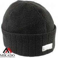 Шапка зимняя вязанная с фонариком 5 LED Mikado UM-ULED04 чёрная