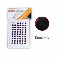Глазки KUTBERT 3D самоклеющиеся, d.6мм., цв.красно/черный (PA-F-005) (60шт./пак.)