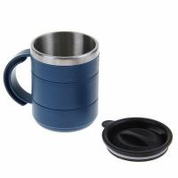 Термокружка, пластик, с крышкой, с поильником, 400мл, цв. синий (078-С)
