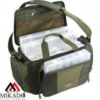 Сумка для рыболовных принадлежностей Mikado с 5 коробками  UWI-362401 (50 x 22 x 26 см.)