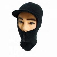 Маска-шлем вязаная, двухслойная, с козырьком, на молнии, хлопок, цвет черный