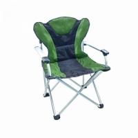 Кресло ELITE В90*Ш65*Г60, раскл., с подлок., алюм. каркас, до 120 кг, Polyester,цв.черн -зел.(1336)