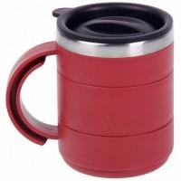 Термокружка, пластик, с крышкой, с поильником, 400мл, цв. красный (078-В)