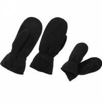Варежки флисовые, утепленные, фиксатор на запястье, цвет черный