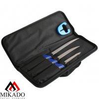 Филейный комплект Mikado малый (2 ножа+рыбочистка+точилка)