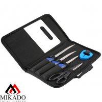 Филейный комплект Mikado большой (3 ножа, рыбочистка, точилка, ножницы, доска)