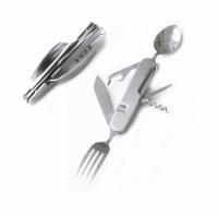 Набор походный раскл. (5 предм) вилка, нож, ложка, откр., штопор, стальной (нерж.),блистер(A106)