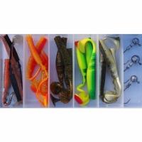 Набор силиконовых приманок Mikado (в коробке виброхв. FISHUNTER TT 11см-15шт.+джиг-3шт.)