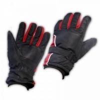 Перчатки мужские, водонепр., ладонь-кожа, фикс. на запястье, подкл. флис, -30, цвет черно-красн.