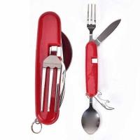 Набор походный раскл. (4 предм) вилка, нож, ложка, откр., руч. пласт. красн. (MNF-240)