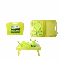 Набор пластиковой посуды для пикника на 4 персоны в кейсе-трансформере (столик) (107-27) (8)