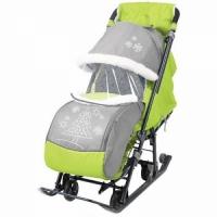 Санки - коляска НИКА ДЕТЯМ 7-1 с сумкой,рукавичками,тентом-дожд.,до 30кг.,3 фикс. полож.(цв.сер-лим)