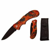 Нож складной, средний, 200мм, длина клинка 85мм, в чехле, цвет оранжевый/черный