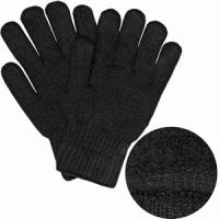 Перчатки вязаные, утепленные, цвет черный, размер M/L