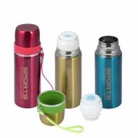 Термос SPORTS, 0,35л, узкое горло, кнопка-дозатор, чашка, цвет красный (8155)