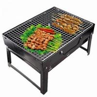 Мангал складной BBQ GRILL, 27*25*34 см с решётками для барбекю, 3 уровня, цв. черн. (16120-33))
