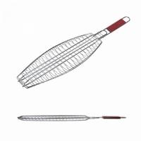 Решетка гриль FORSTER 70*43*15 см, для рыбы, одинарная, дерев. ручка, большая (16120-42)   50